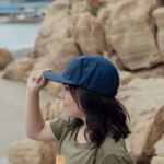 Navy cap with leather patch